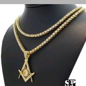 Other - MEN'S LAB DIAMONDS MASONIC NECKLACE SET